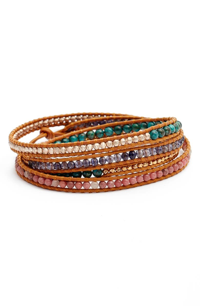 CHAN LUU Semiprecious 5-Stone Wrap Bracelet, Main, color, 440