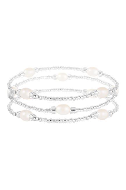 Image of Splendid Pearls 6-7mm Cultures Freshwater Pearl Beaded Elastic Bracelet Set
