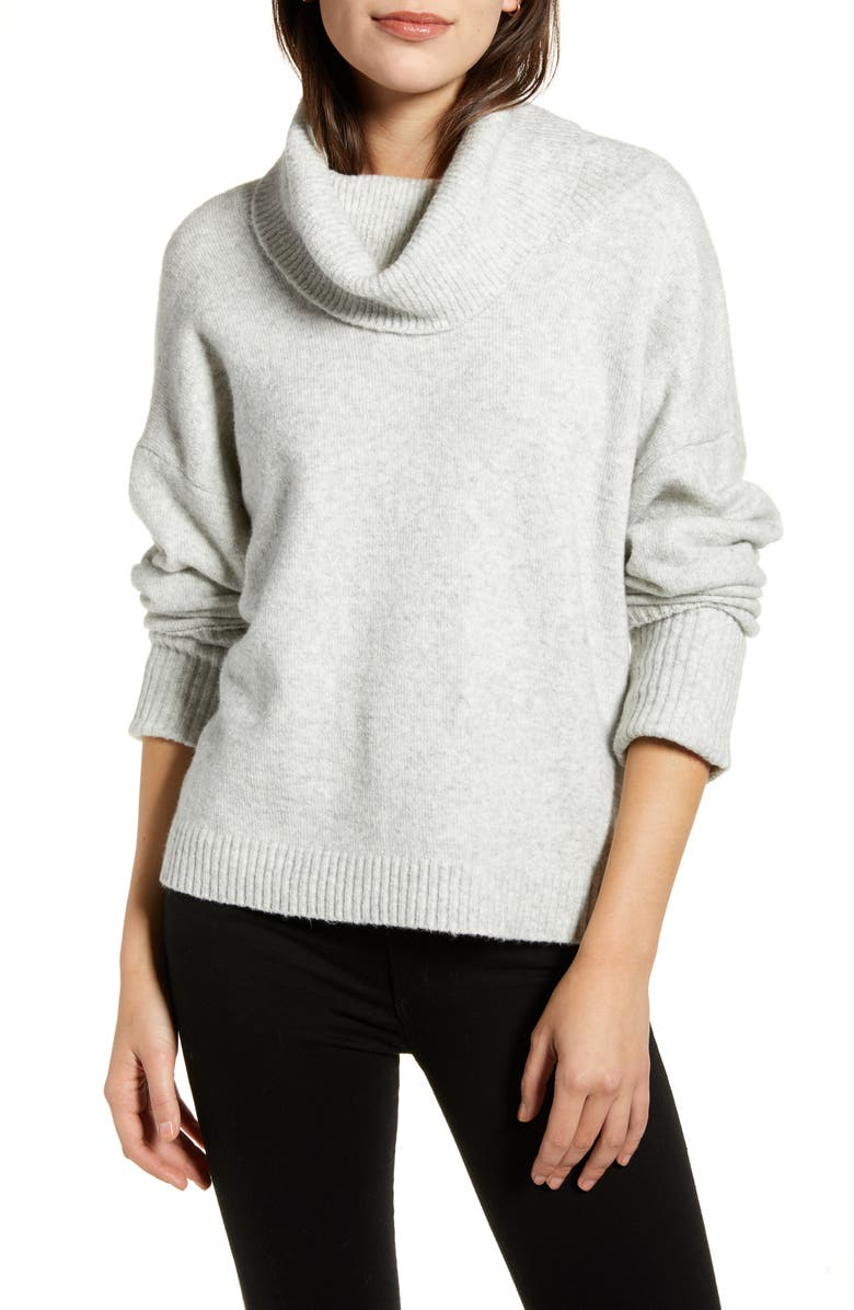 CHELSEA28 Cowl Neck Sweater, Main, color, GREY LIGHT HEATHER
