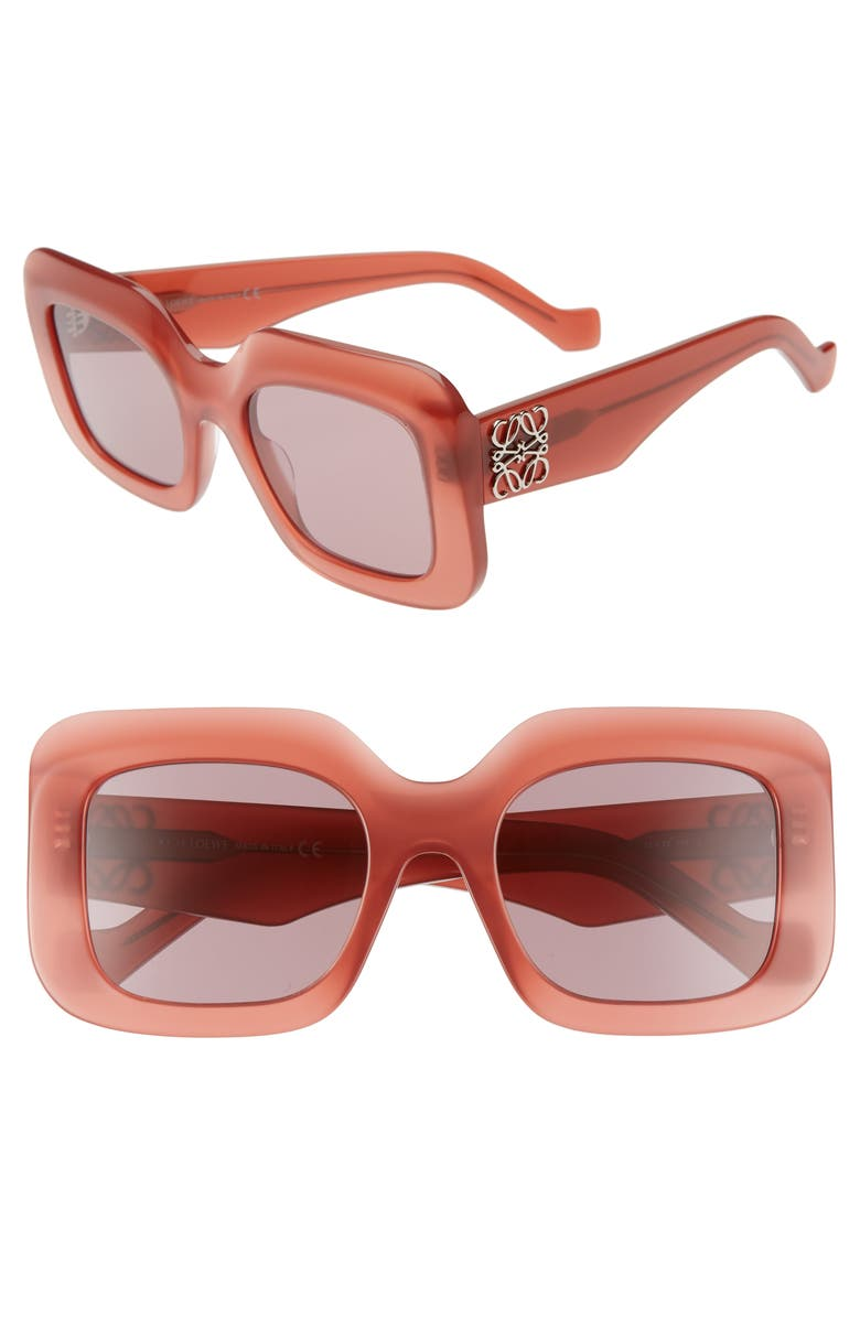 LOEWE 53mm Square Sunglasses, Main, color, RED