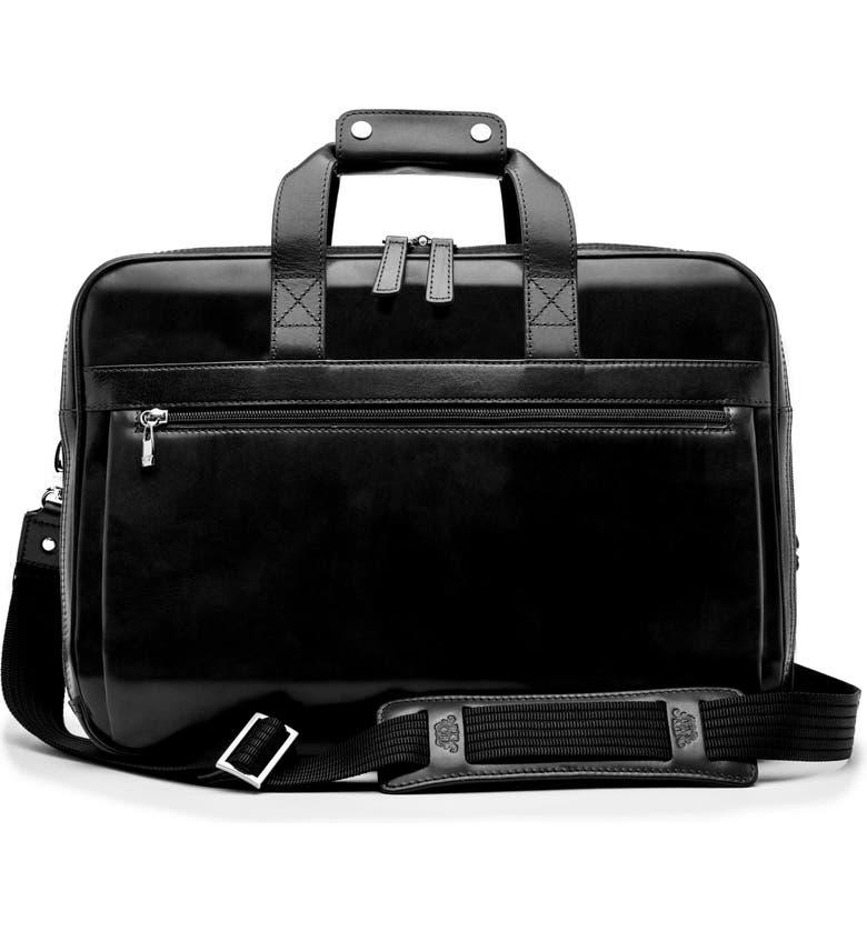 BOSCA Stringer Leather Satchel, Main, color, BLACK