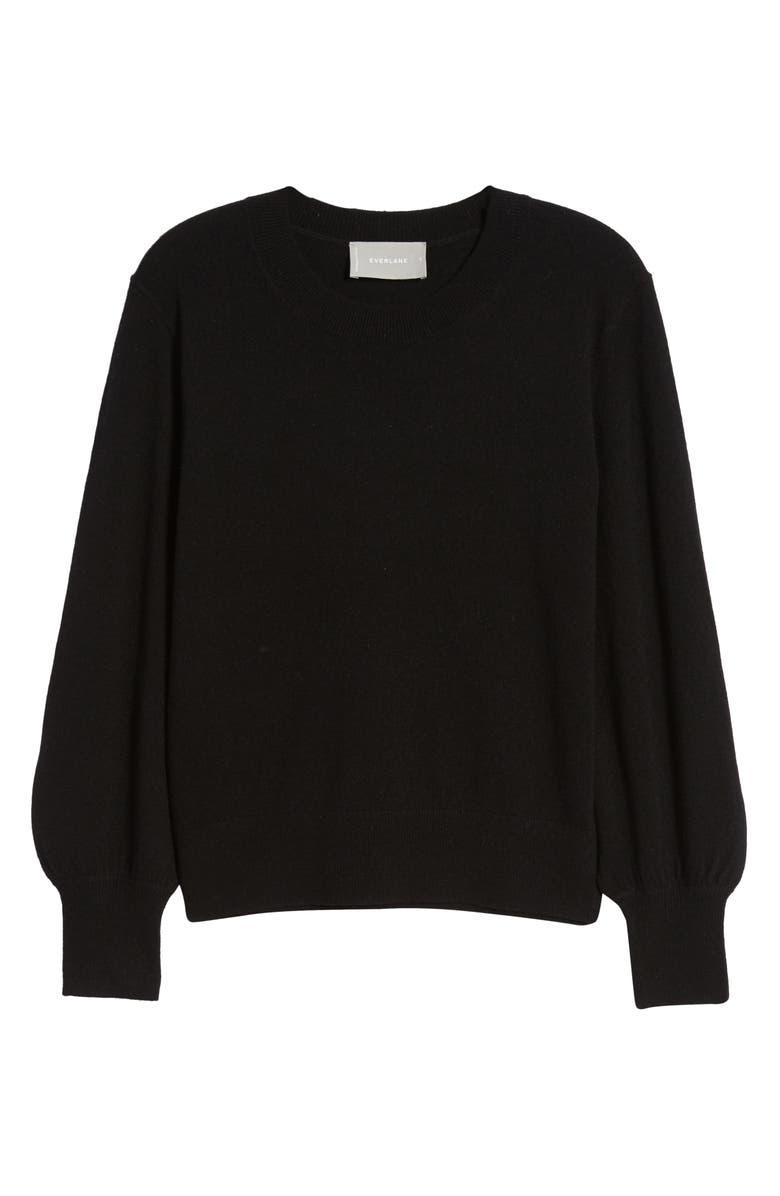 EVERLANE The Cashmere Lantern Sweater, Main, color, BLACK