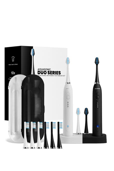 AQUASONIC - DUO Dual Ultrasonic Toothbrushes with 10 DuPont Brush Heads & 2 Travel Cases