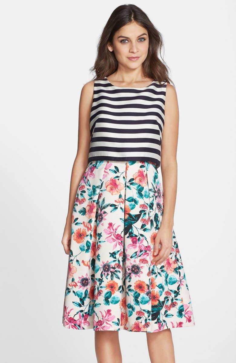 ELIZA J Mixed Print Popover Dress, Main, color, 650