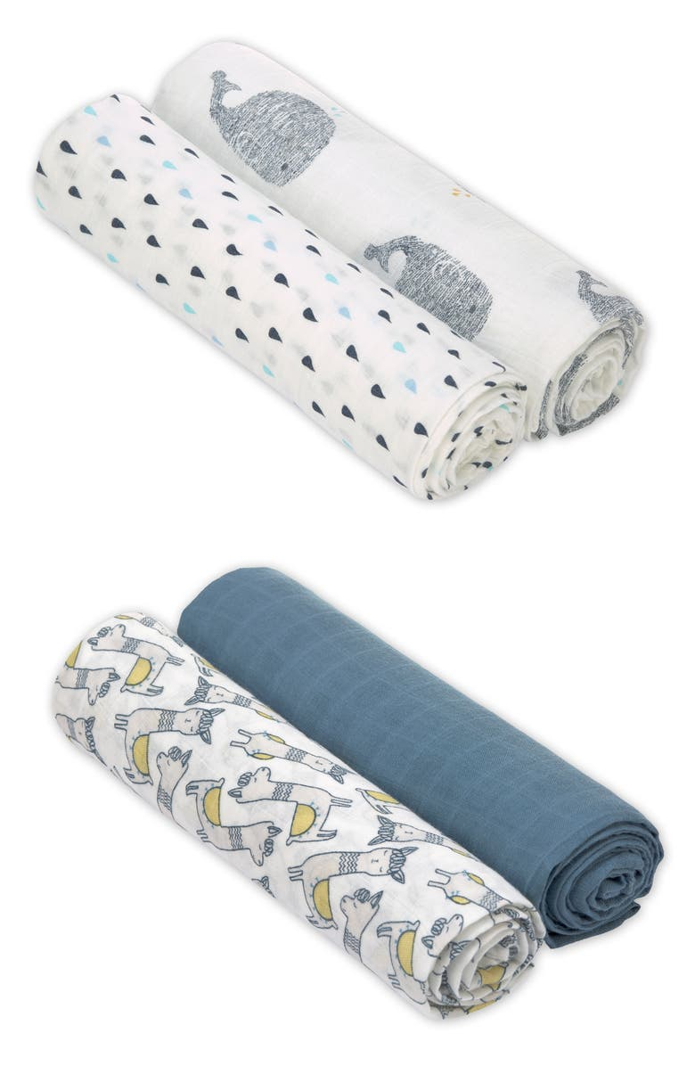 LÄSSIG Heavenly Soft 4-Pack XL Cotton Muslin Swaddles, Main, color, BLUE MULTI