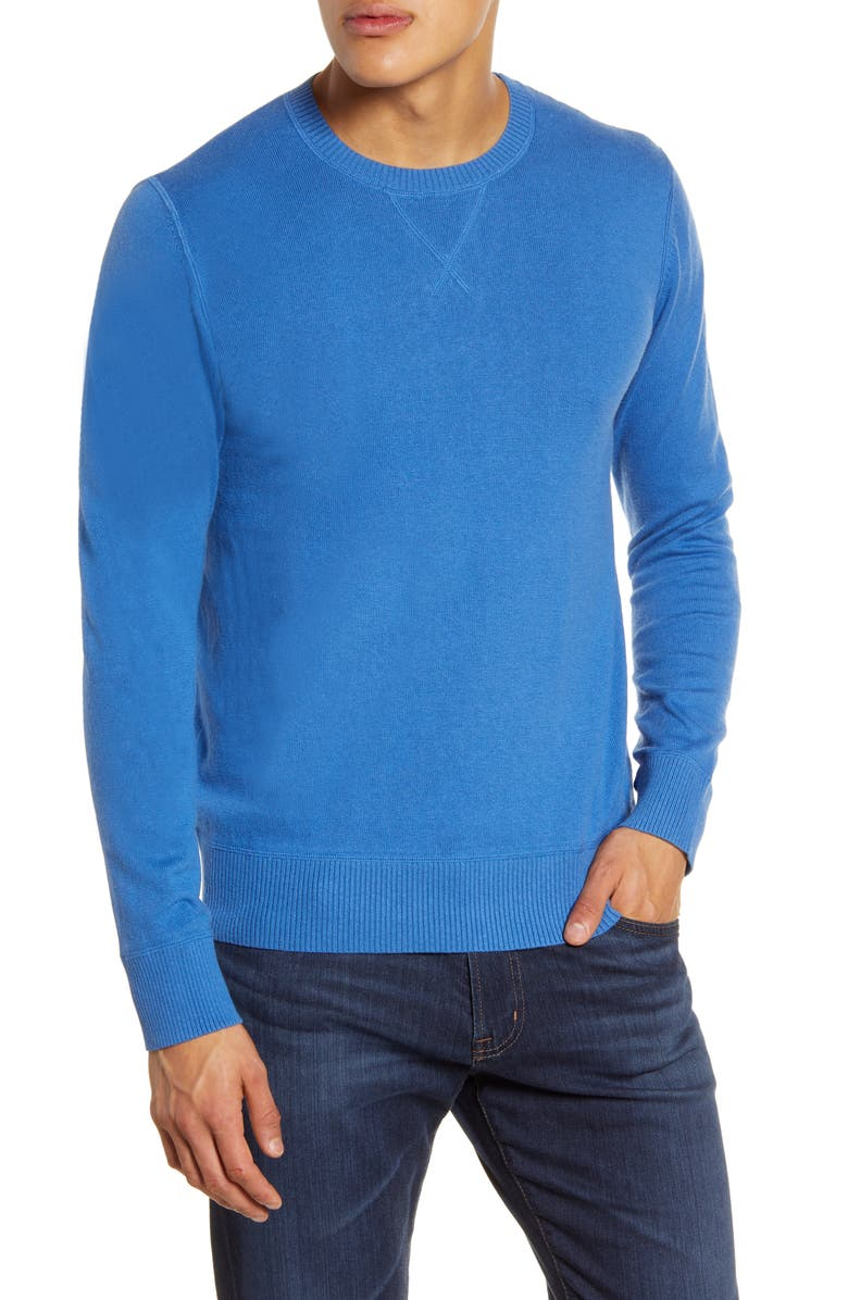 LIFE/AFTER/DENIM Tournament Crewneck Sweater, Main, color, BLUE BELL
