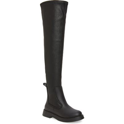 Jeffrey Campbell Rainfall Waterproof Over The Knee Rain Boot, Black