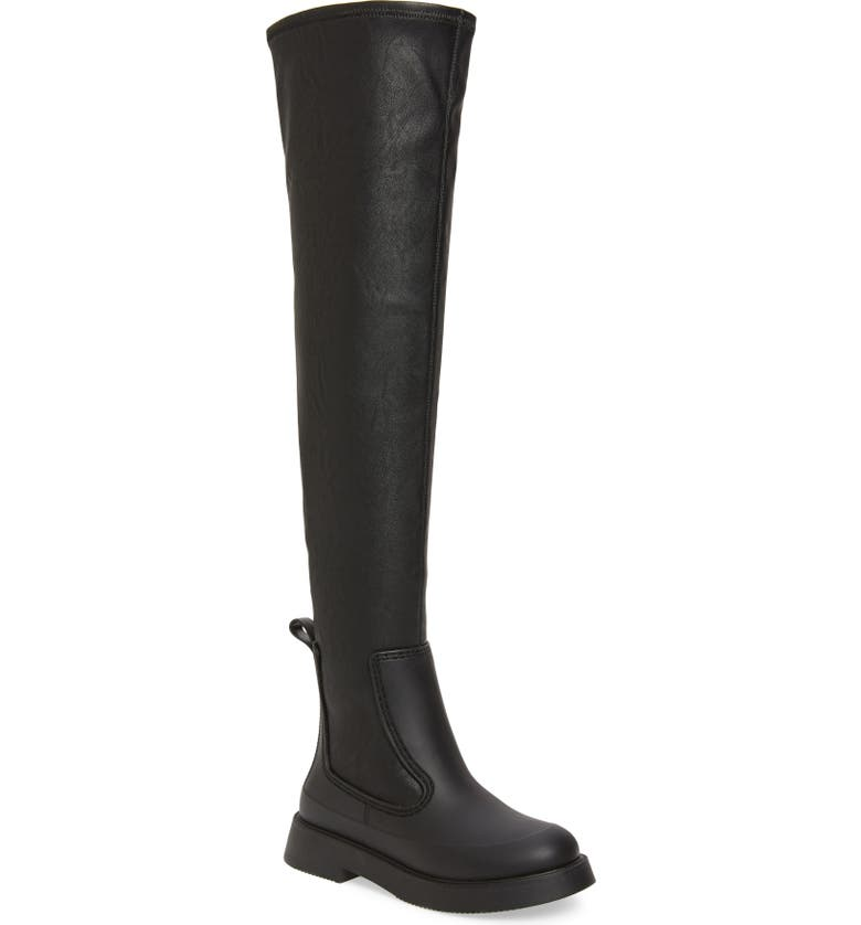 JEFFREY CAMPBELL Rainfall Waterproof Over the Knee Rain Boot, Main, color, BLACK MATTE
