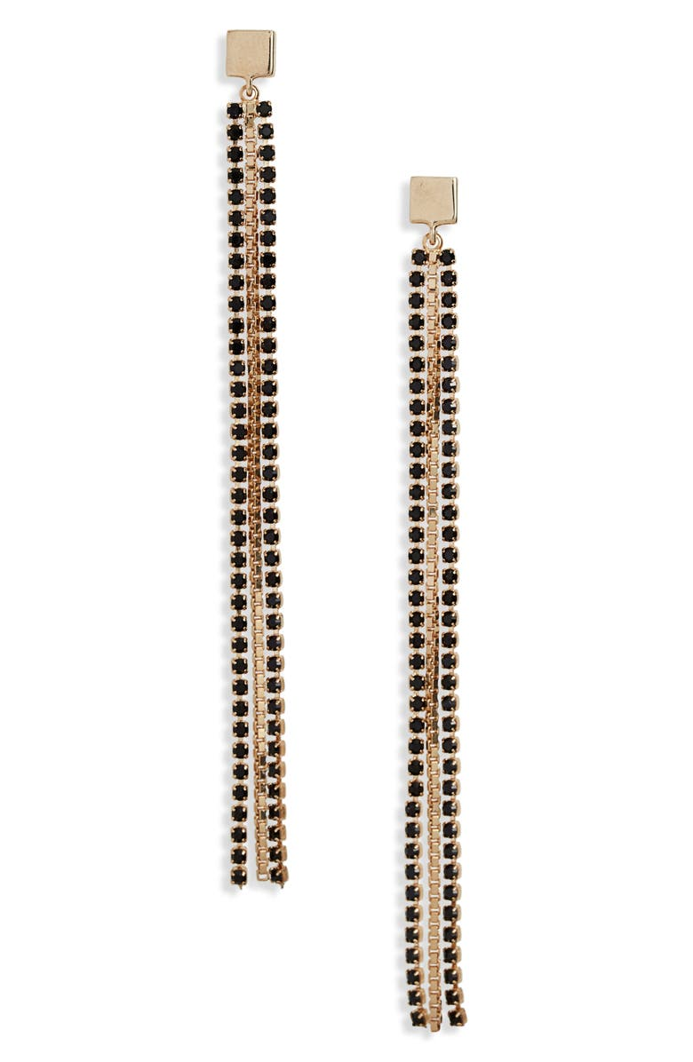 HALOGEN<SUP>®</SUP> Stone Chain Linear Drop Earrings, Main, color, BLACK- GOLD