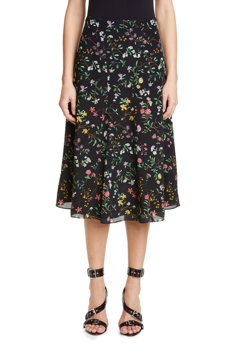 ALTUZARRA Floral Print Silk Skirt, Main, color, BLACK