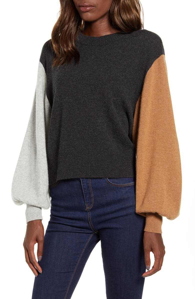 SPLENDID Colorblock Cashmere Sweater, Main, color, 020
