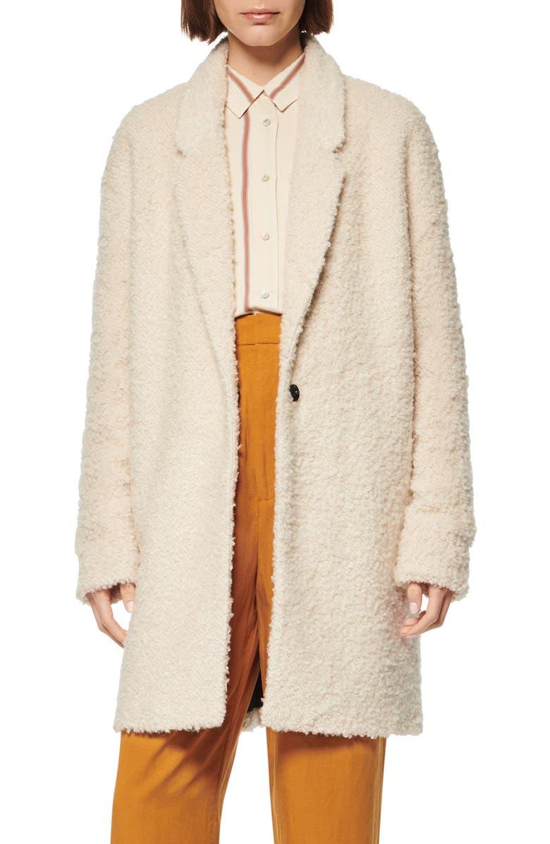 MARC NEW YORK Curly Bouclé Coat, Main, color, IVORY