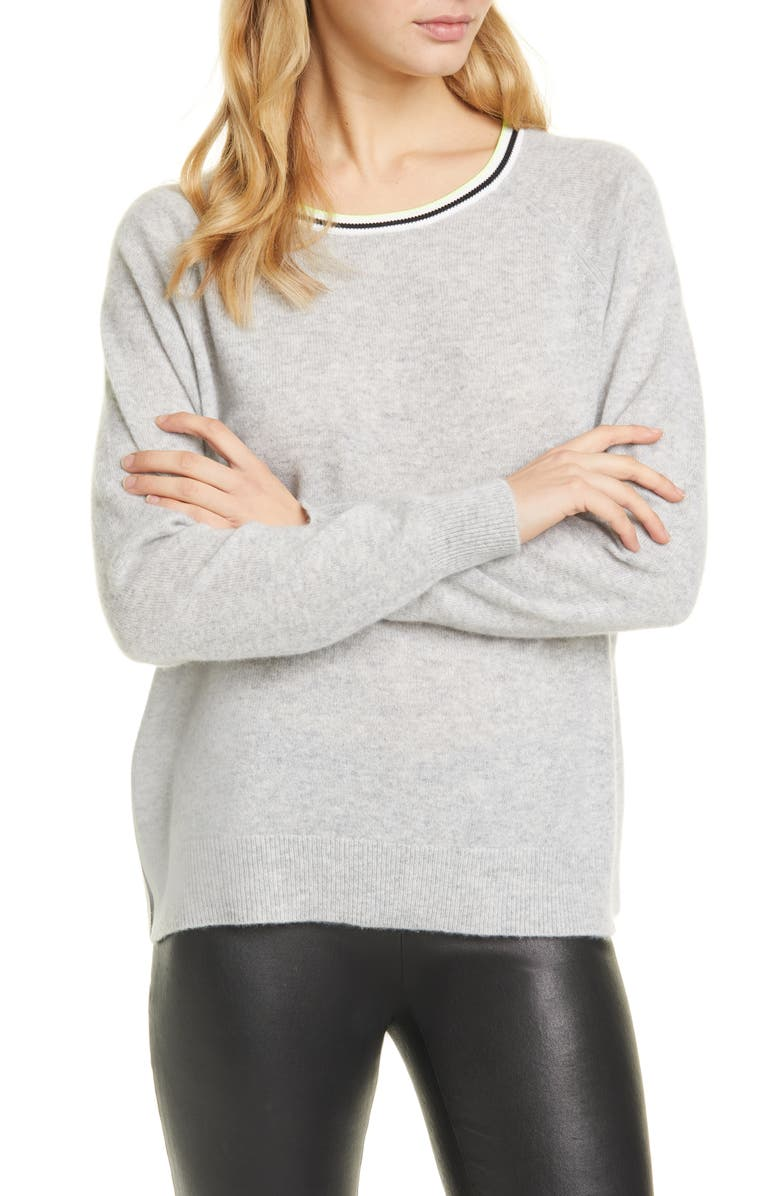 ALICE + OLIVIA Moira Side Stripe Cashmere Blend Sweater, Main, color, GREY/ OFF WHITE/ BLACK/ LIME