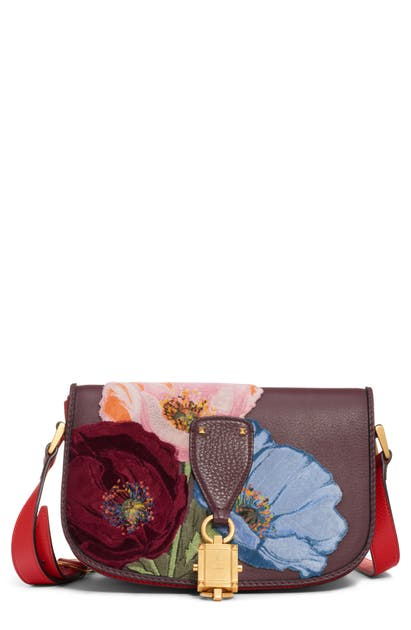 Valentino Garavani V-locker Leather Saddle Bag In Rubin/ Rouge Pur