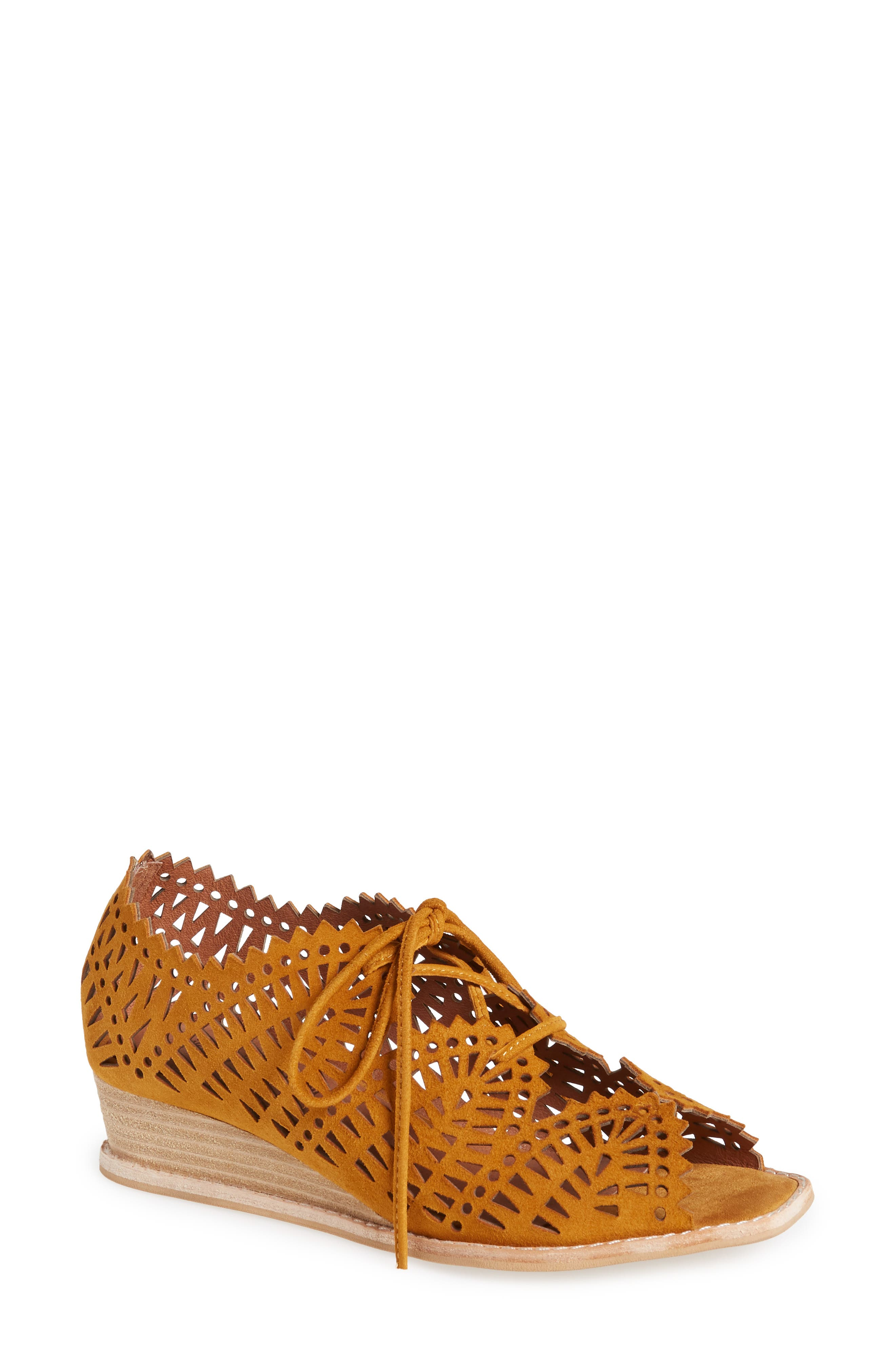 Jeffrey Campbell Espejo Lace-Up Wedge- Yellow