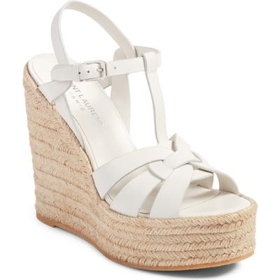 Saint Laurent Tribute Espadrille Wedge, White