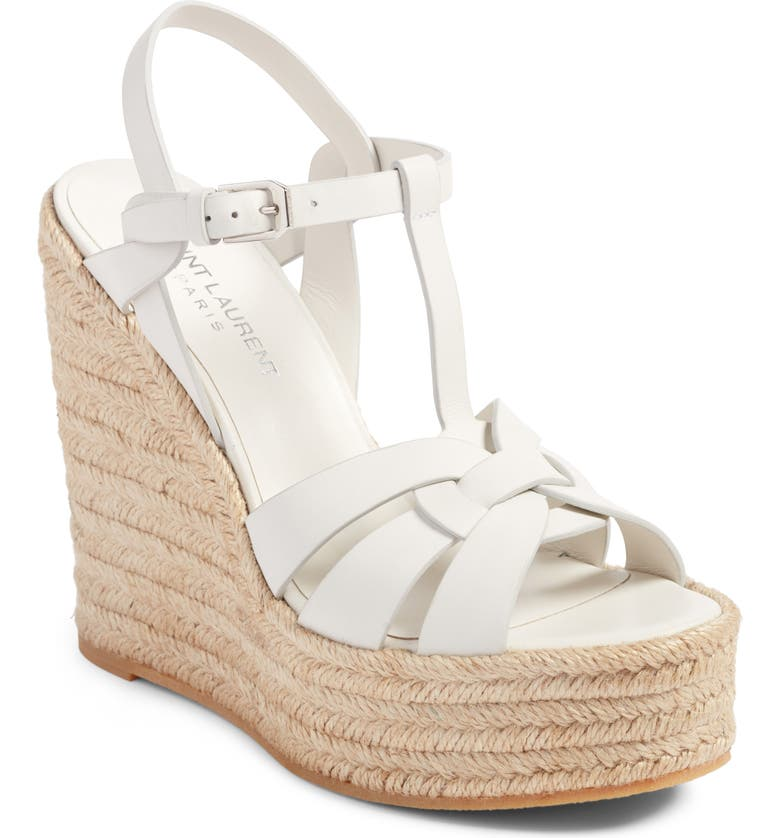 SAINT LAURENT Tribute Espadrille Wedge, Main, color, WHITE LEATHER