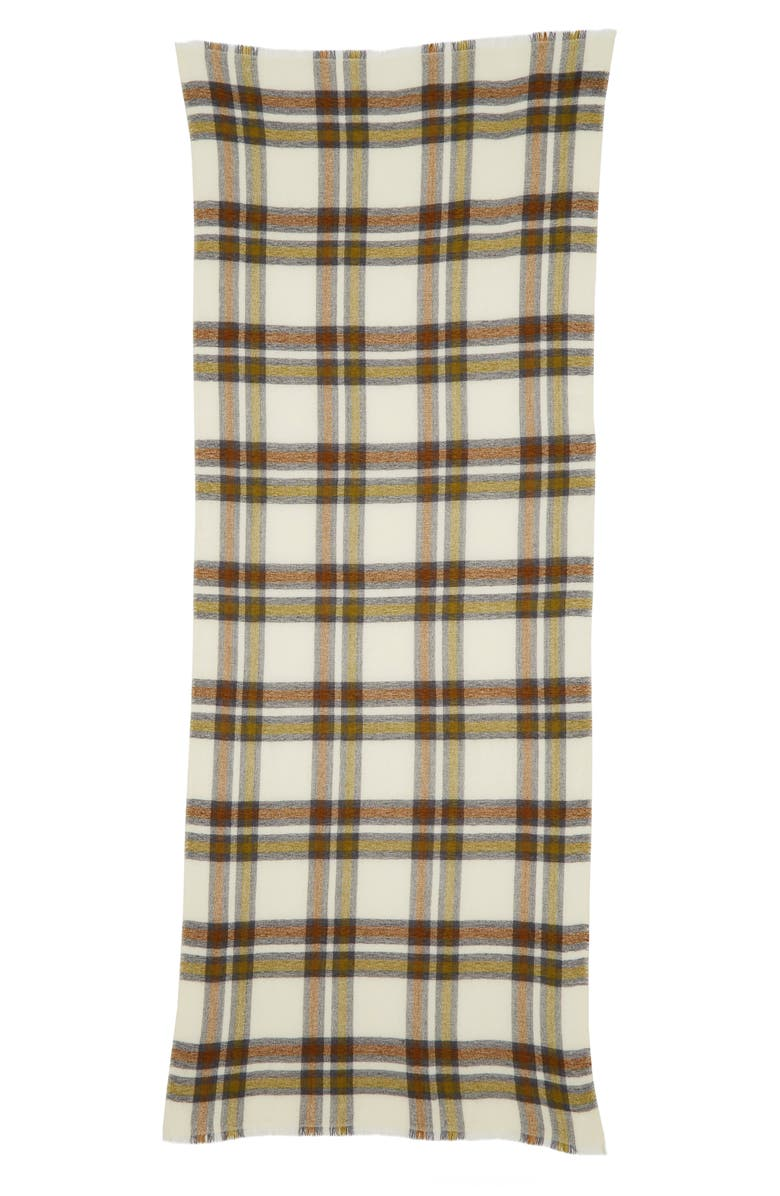 ISABEL MARANT Suzanne Check Wool & Cashmere Scarf, Main, color, BRONZE