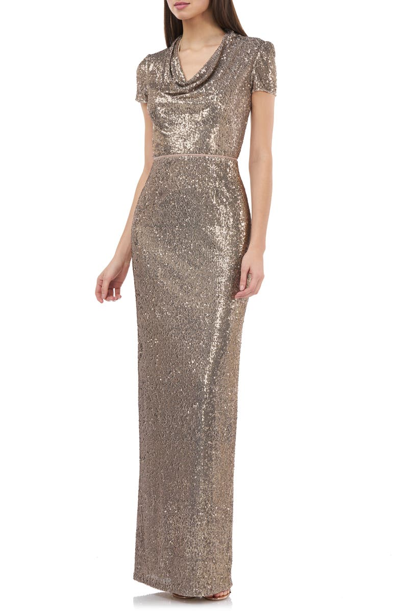 JS COLLECTIONS Sequin Cowl Neck Column Gown, Main, color, GOLD