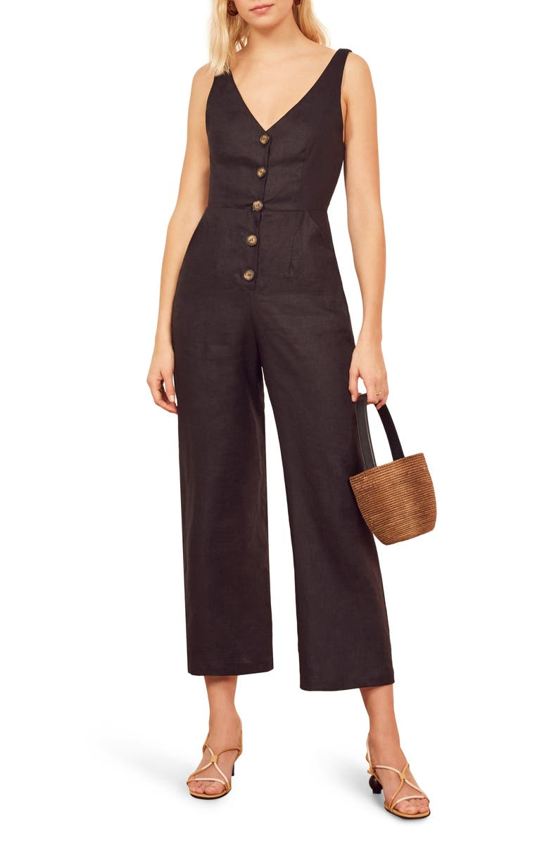 REFORMATION Vera Button Front Sleeveless Jumpsuit, Main, color, 001