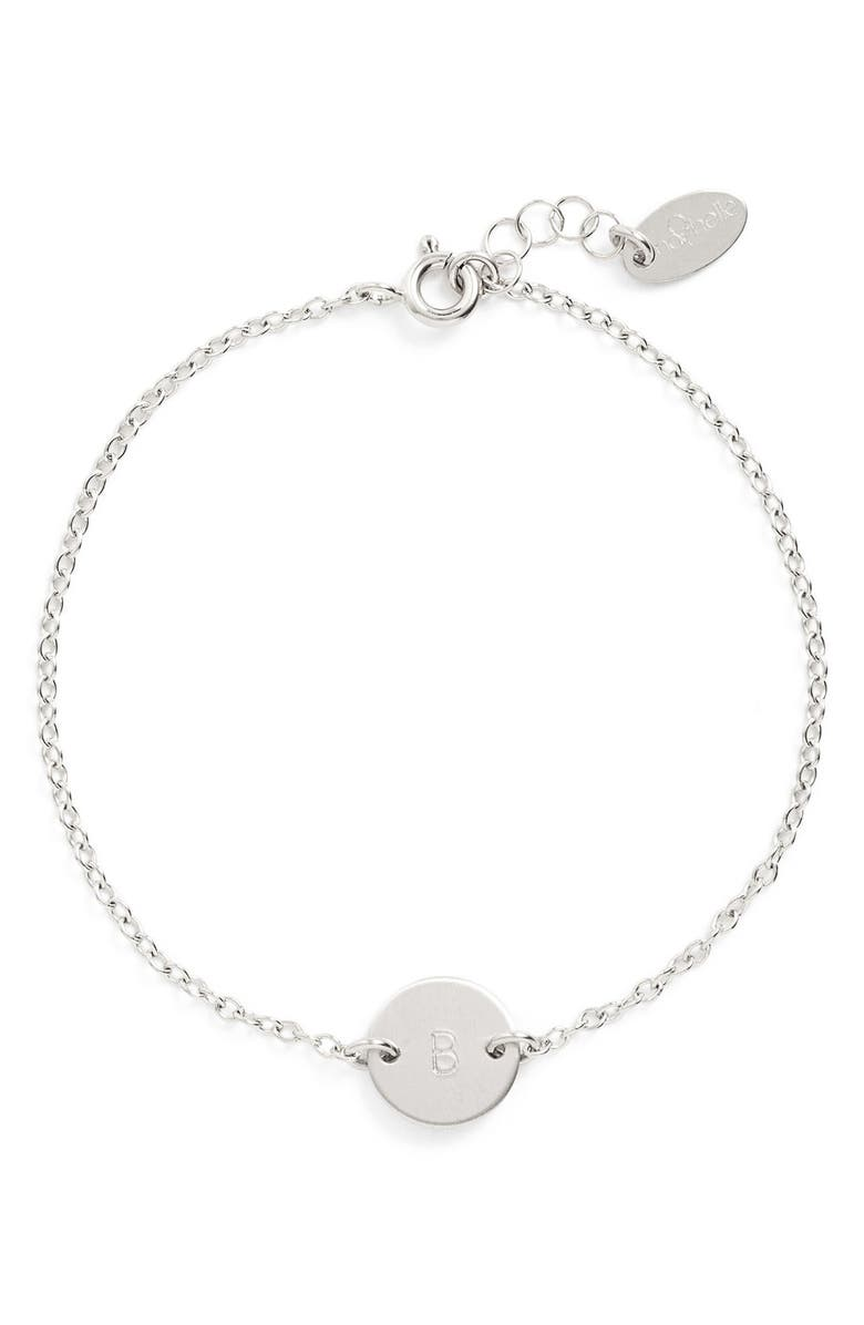 NASHELLE Sterling Silver Mini Initial Disc Bracelet, Main, color, STERLING SILVER B
