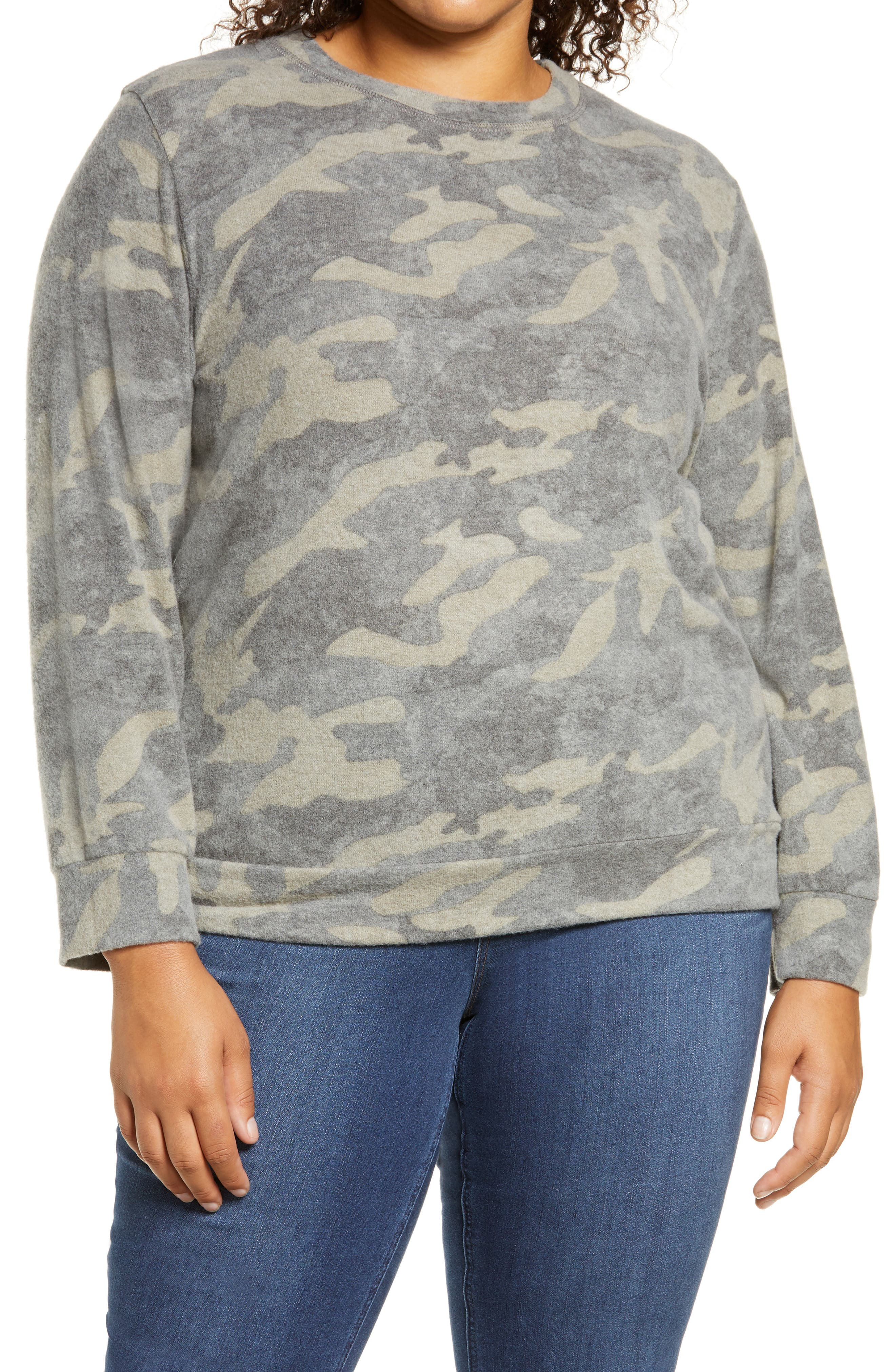 A cool camo design emboldens this brushed crewneck pullover that\\\'s ideal for the weekend. Style Name: Loveappella Camo Crewneck Pullover (Plus Size). Style Number: 6142437. Available in stores.