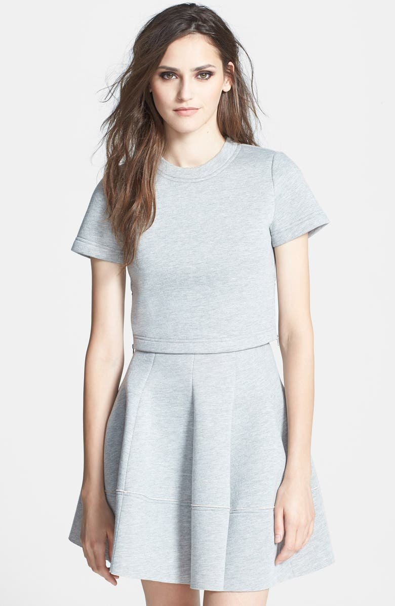 RE:NAMED Boxy Scuba Fleece Crop Top, Main, color, 020