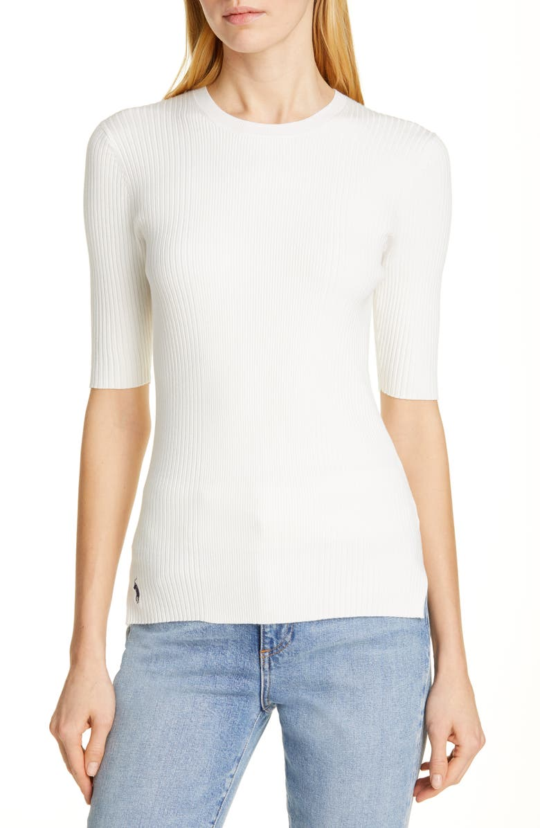 POLO RALPH LAUREN Ribbed Elbow Sleeve Sweater, Main, color, 900