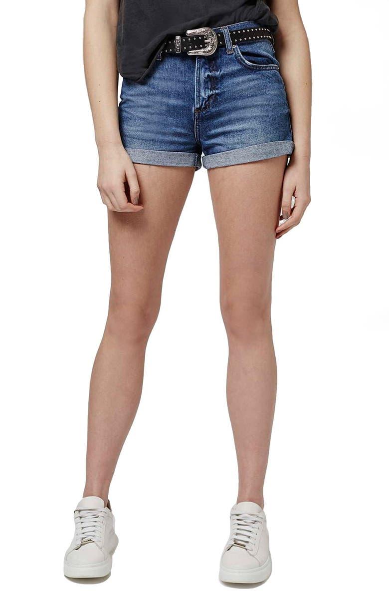 TOPSHOP Moto 'Rosa' Denim Shorts, Main, color, 400