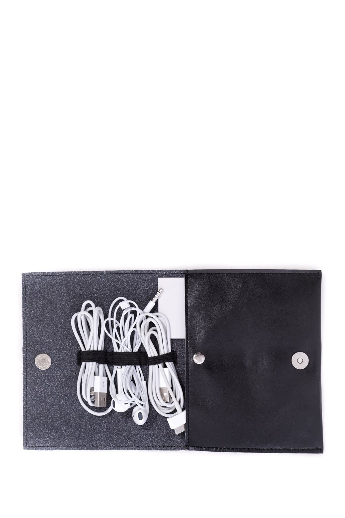 Image of Bey-Berk Black Leatherette Travel Charger Case & Accessories Pouch