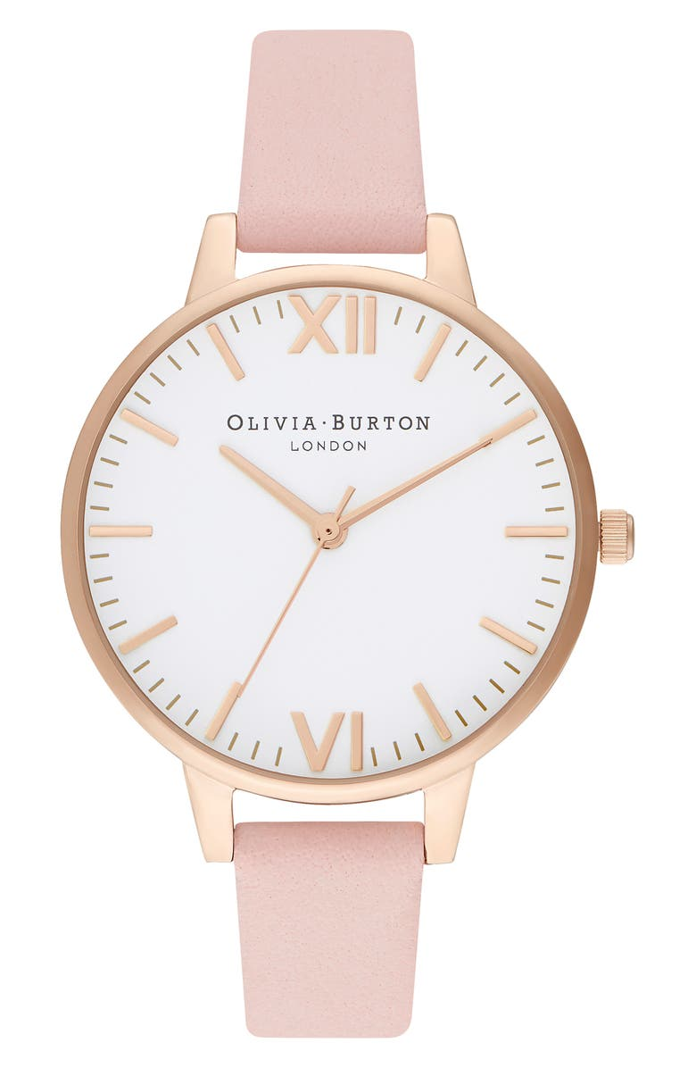 OLIVIA BURTON Timeless Leather Strap Watch, 34mm, Main, color, DUSTY PINK/ WHITE/ GOLD