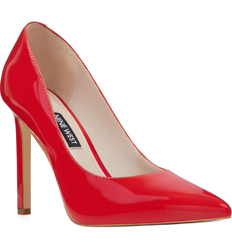 NINE WEST 'Tatiana' Pointy Toe Pump, Main, color, CORAL RED PATENT LEATHER