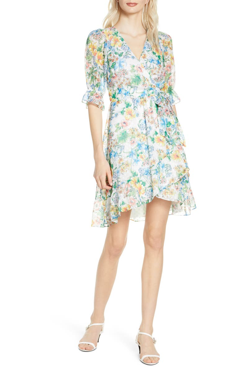 ALI & JAY Garden Strolls Wrap Dress, Main, color, BOTANICAL FLORAL