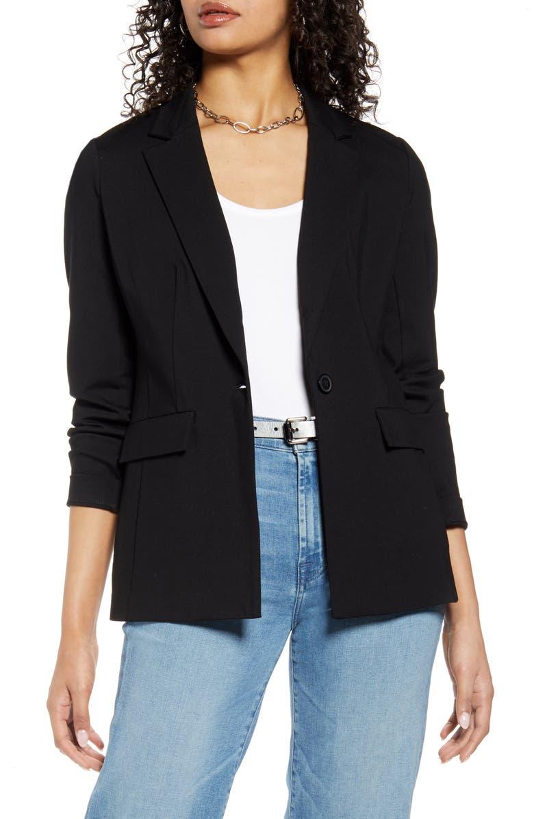 HALOGEN<SUP>®</SUP> One-Button Ponte Jacket, Main, color, 001