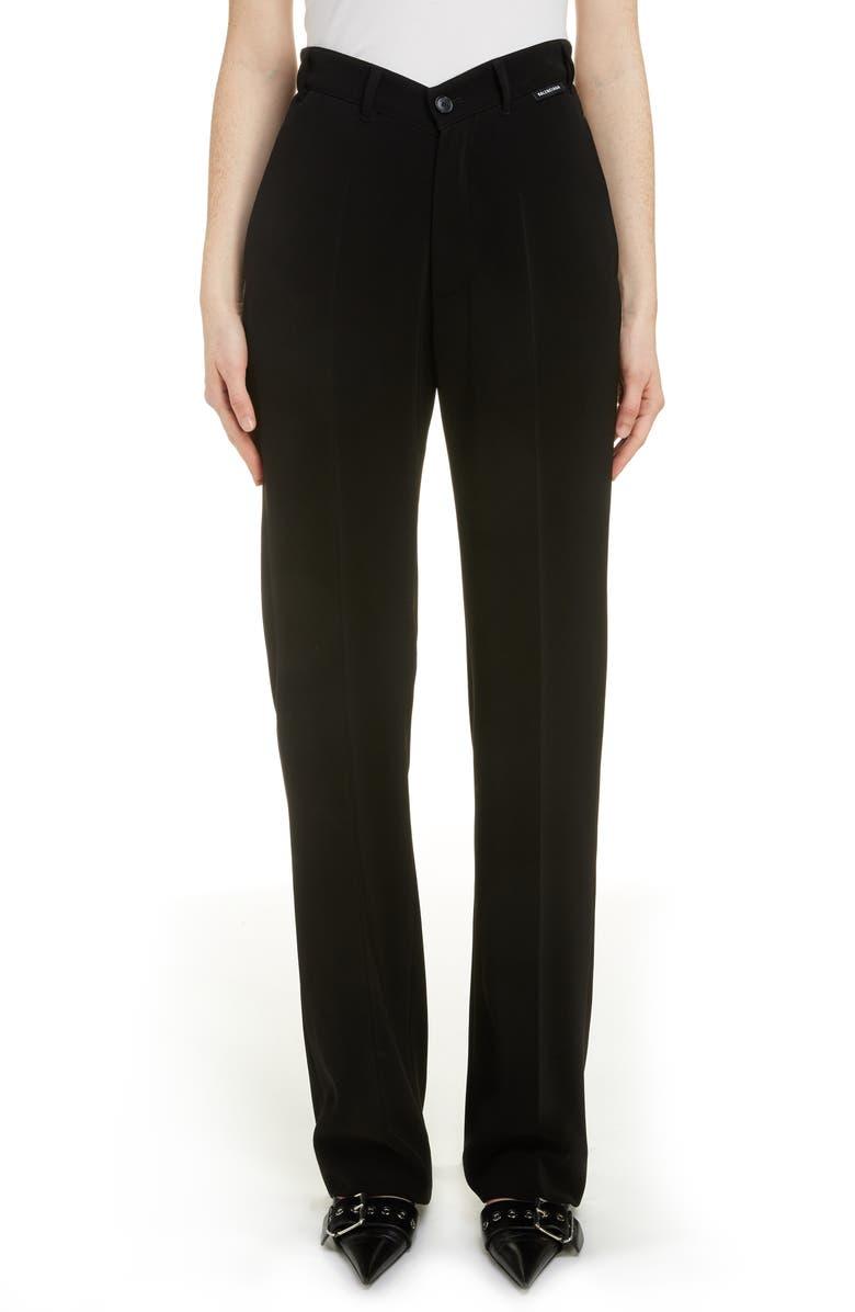 BALENCIAGA Dip Waist Trousers, Main, color, 001