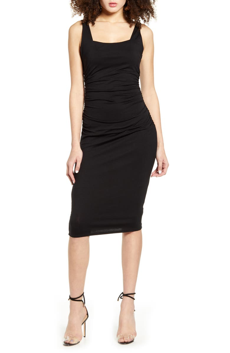 SOCIALITE Square Neck Ruched Sheath Dress, Main, color, BLACK