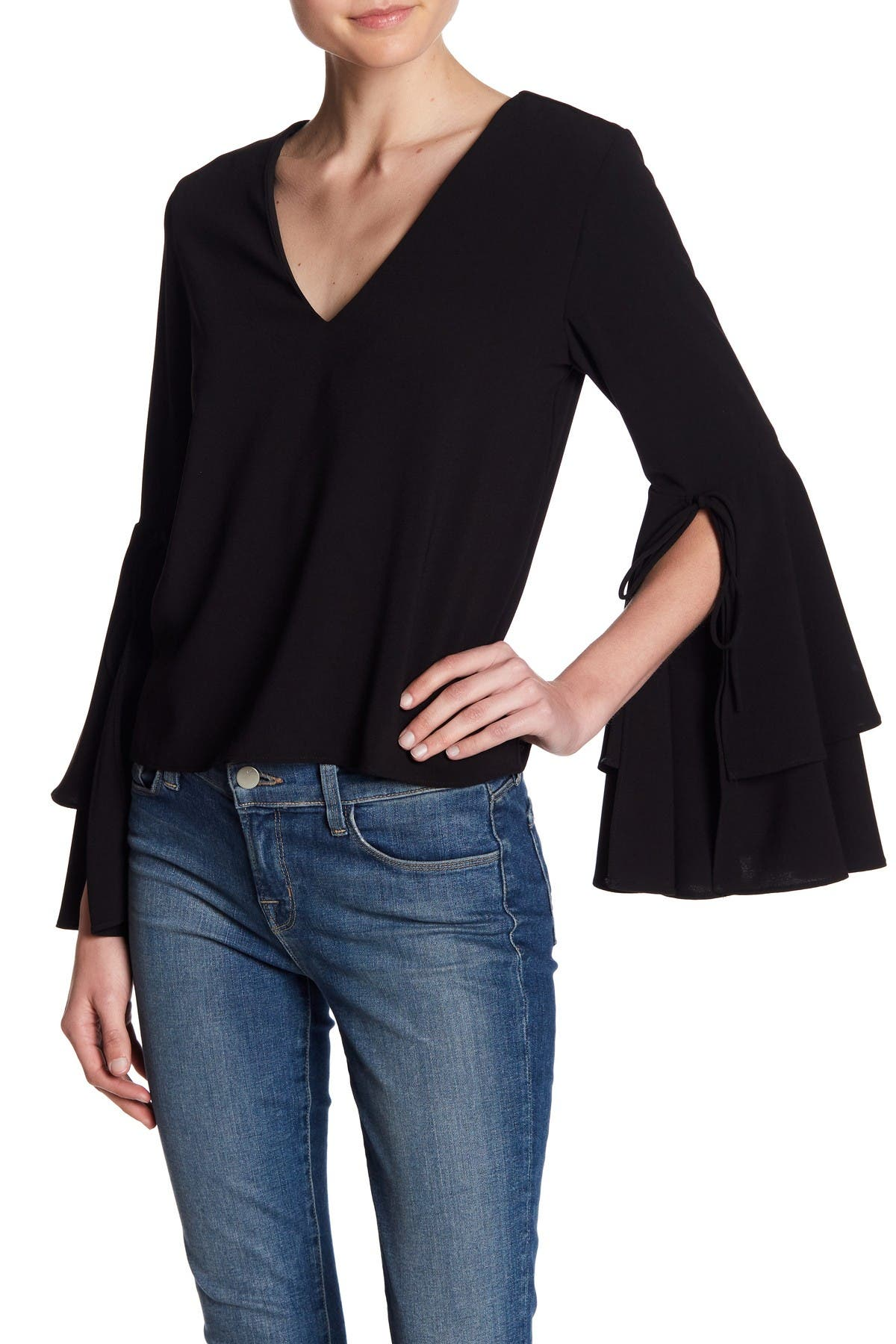 Image of Sugarlips Ruffle Bell Sleeve Top