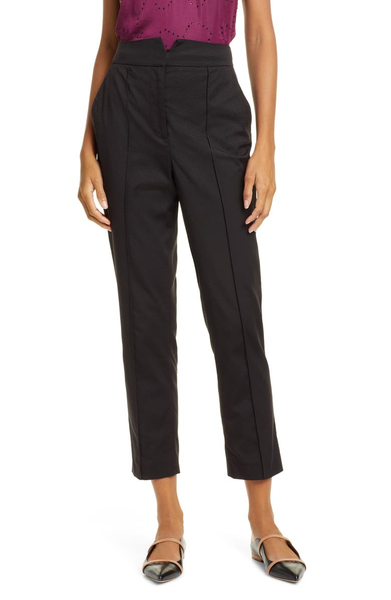 REBECCA TAYLOR Ottoman Notch Waist Ankle Trousers, Main, color, 001