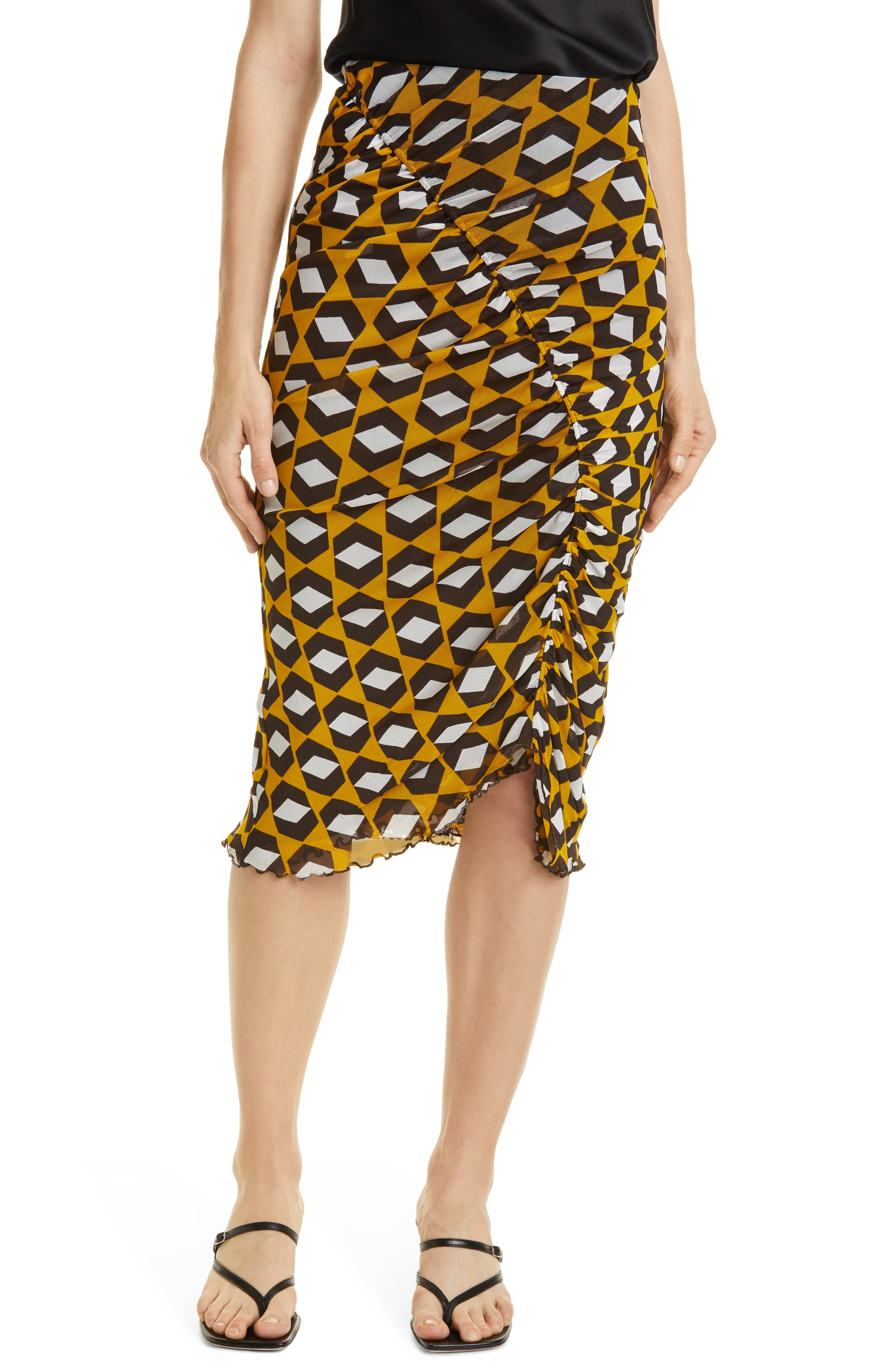 Christy Ruched Mesh Skirt