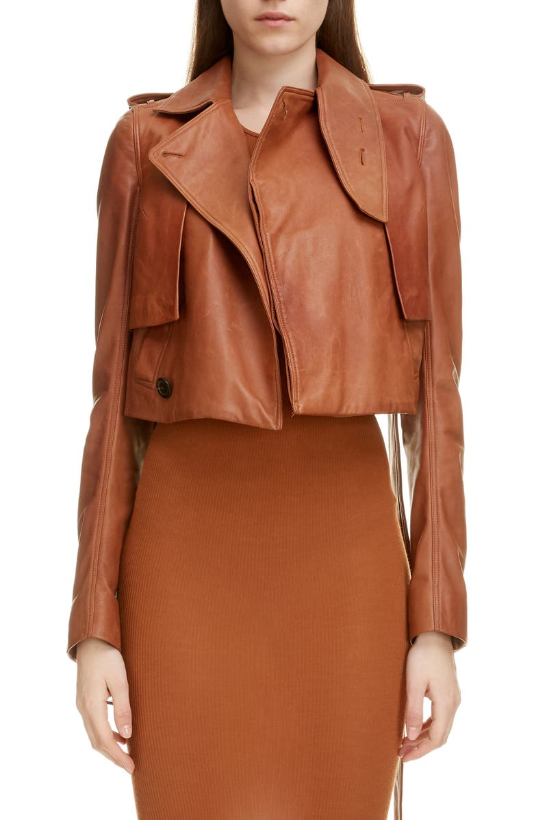 RICK OWENS Crop Leather Jacket, Main, color, RUST