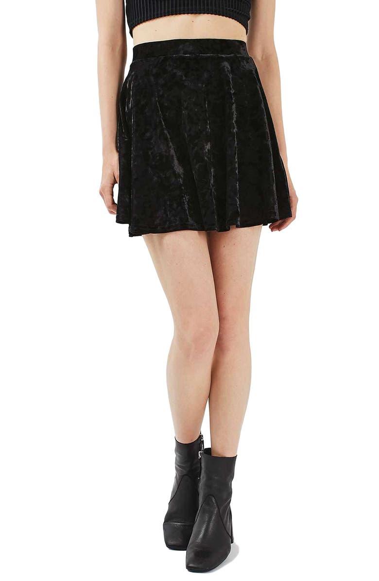 TOPSHOP Velvet Skater Skirt, Main, color, 001