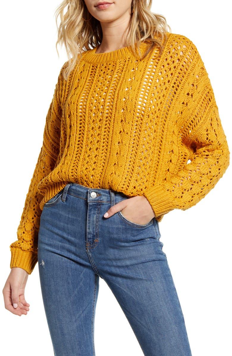 MINKPINK Kimmy Cotton Blend Sweater, Main, color, MUSTARD