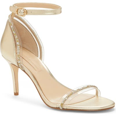Imagine By Vince Camuto Phillipa Crystal Embellished Clear Sandal, Metallic