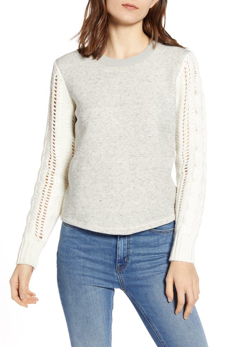 SPLENDID Emerson Mixed Media Sweater, Main, color, 051