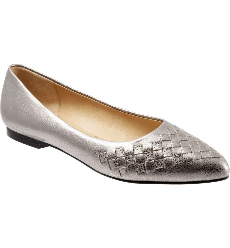 TROTTERS Estee Pointed Toe Flat, Main, color, SILVER LEATHER