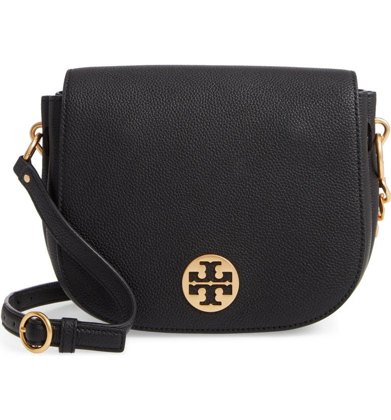 TORY BURCH Everly Leather Flap Saddle Bag, Main, color, BLACK