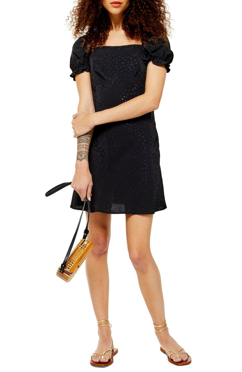 TOPSHOP Square Neck Jacquard Minidress, Main, color, BLACK