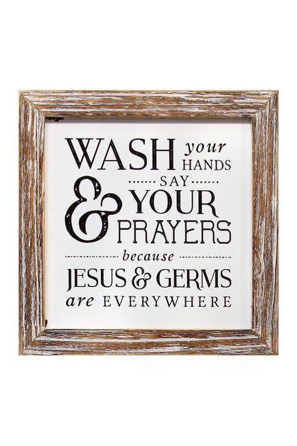 Image of Stratton Home Natural Wood/Black Wash Your Hands Say Your Prayers