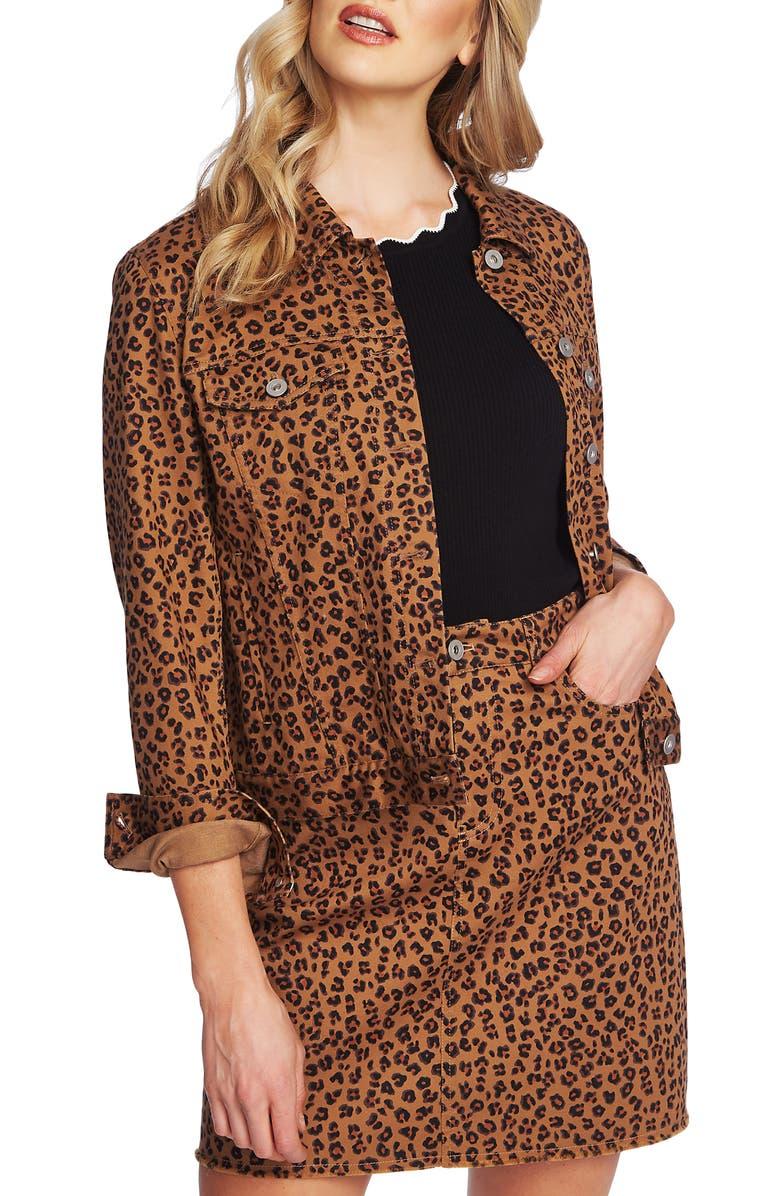 CeCe Leopard Print Twill Jacket