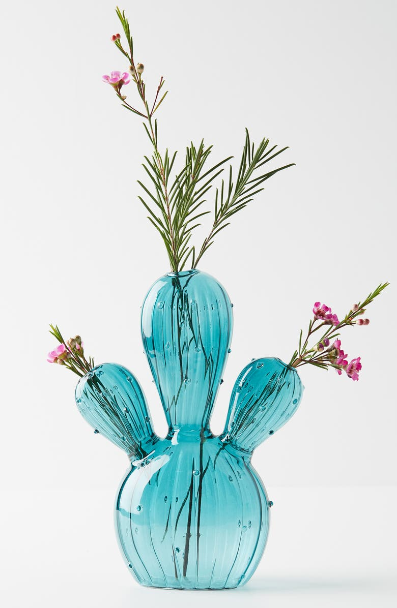 ANTHROPOLOGIE Glass Cactus Vase, Main, color, 400